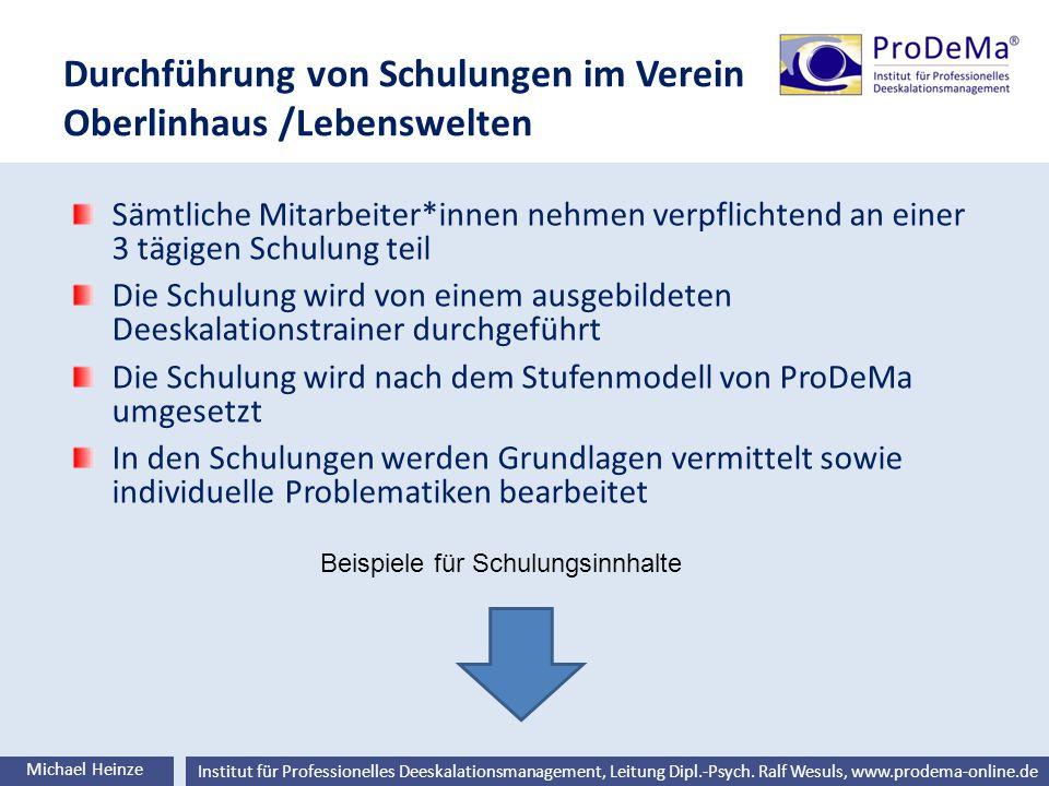 Ralf Wesuls © Institut für Professionelles Deeskalationsmanagement, Leitung Dipl.-Psych. Ralf Wesuls, www.prodema-online.de Durchführung von Schulunge