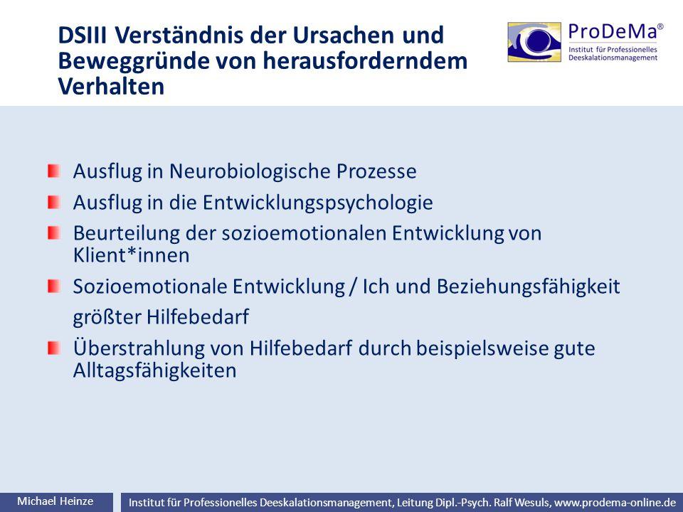 Ralf Wesuls © Institut für Professionelles Deeskalationsmanagement, Leitung Dipl.-Psych. Ralf Wesuls, www.prodema-online.de DSIII Verständnis der Ursa