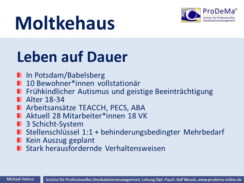 Ralf Wesuls © Institut für Professionelles Deeskalationsmanagement, Leitung Dipl.-Psych. Ralf Wesuls, www.prodema-online.de Moltkehaus Leben auf Dauer
