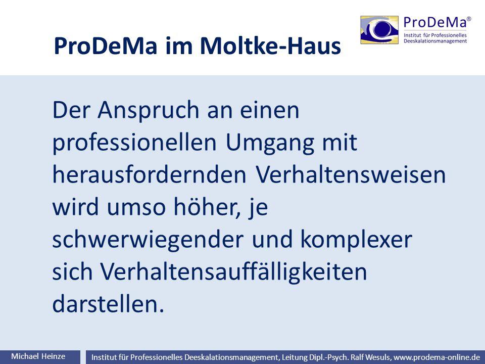 Ralf Wesuls © Institut für Professionelles Deeskalationsmanagement, Leitung Dipl.-Psych. Ralf Wesuls, www.prodema-online.de ProDeMa im Moltke-Haus Der