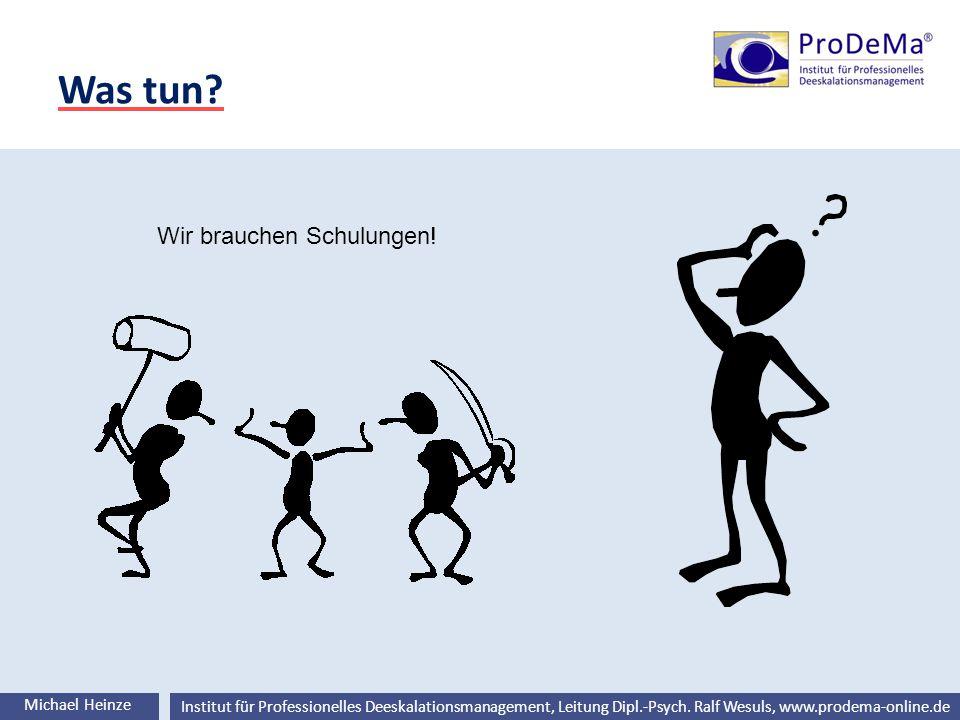 Ralf Wesuls © Institut für Professionelles Deeskalationsmanagement, Leitung Dipl.-Psych. Ralf Wesuls, www.prodema-online.de Was tun? Michael Heinze Wi