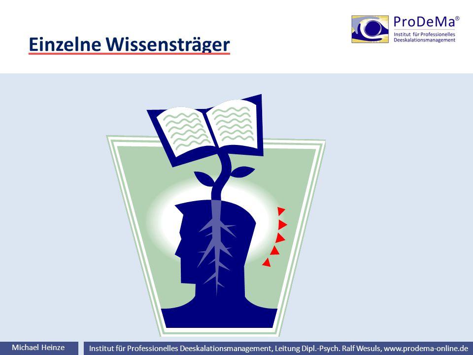 Ralf Wesuls © Institut für Professionelles Deeskalationsmanagement, Leitung Dipl.-Psych. Ralf Wesuls, www.prodema-online.de Einzelne Wissensträger Mic