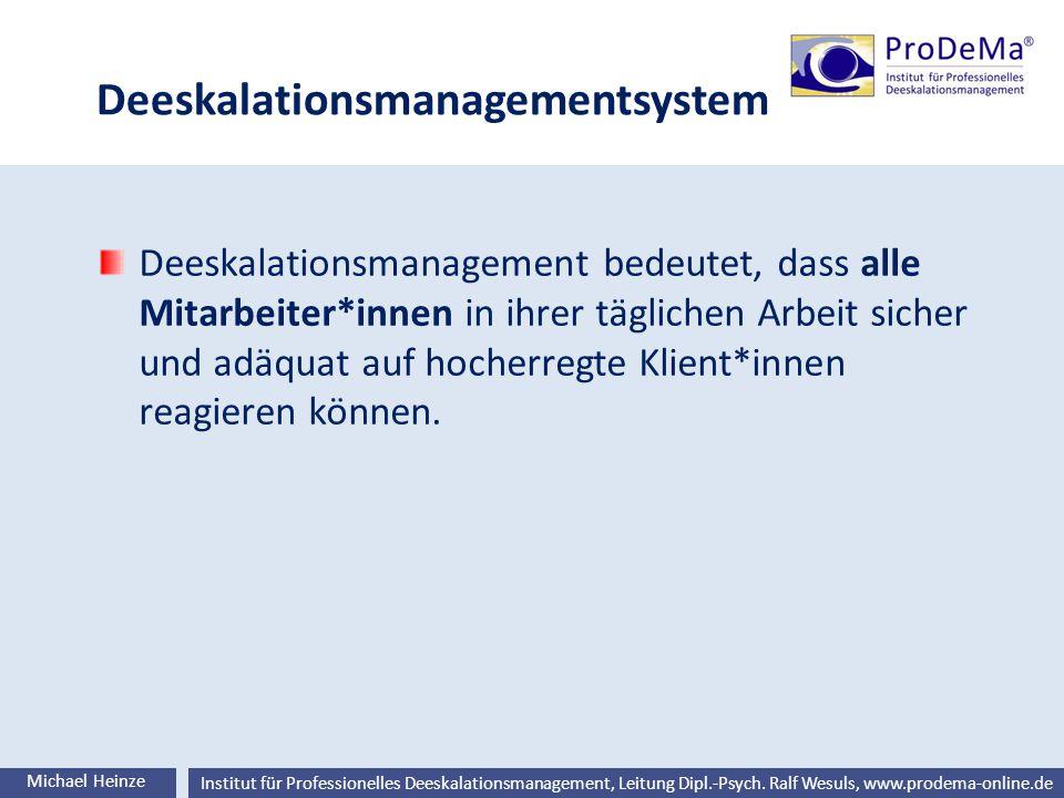 Ralf Wesuls © Institut für Professionelles Deeskalationsmanagement, Leitung Dipl.-Psych. Ralf Wesuls, www.prodema-online.de Deeskalationsmanagementsys