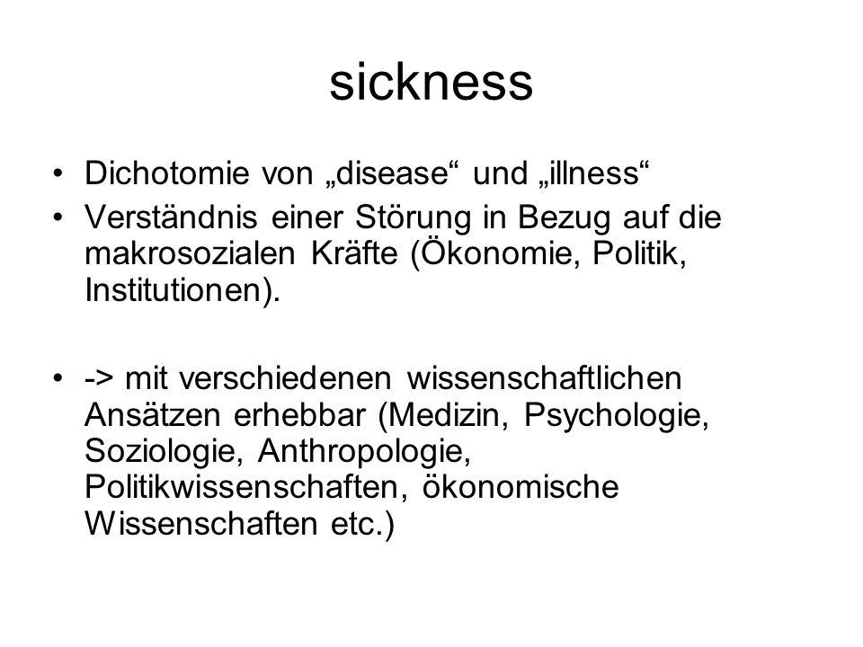 """sickness Dichotomie von """"disease"""" und """"illness"""" Verständnis einer Störung in Bezug auf die makrosozialen Kräfte (Ökonomie, Politik, Institutionen). ->"""