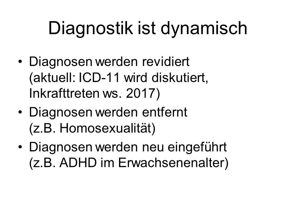 Diagnostik ist dynamisch Diagnosen werden revidiert (aktuell: ICD-11 wird diskutiert, Inkrafttreten ws. 2017) Diagnosen werden entfernt (z.B. Homosexu