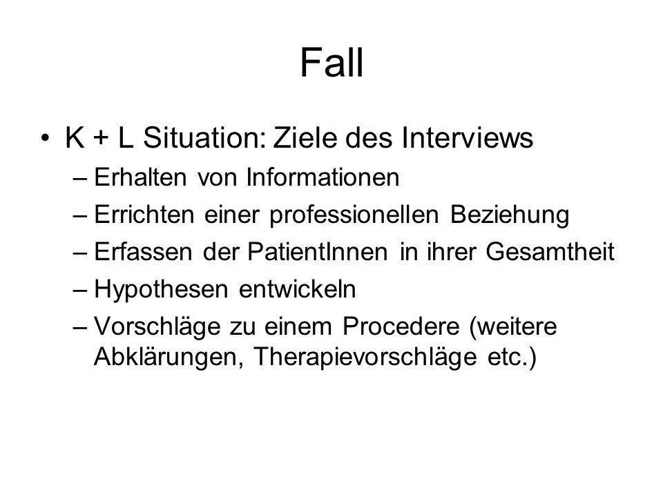 Fall K + L Situation: Ziele des Interviews –Erhalten von Informationen –Errichten einer professionellen Beziehung –Erfassen der PatientInnen in ihrer