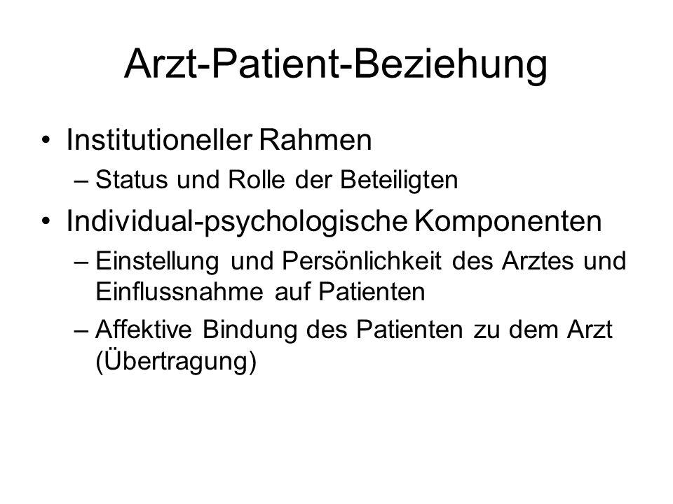 Arzt-Patient-Beziehung Institutioneller Rahmen –Status und Rolle der Beteiligten Individual-psychologische Komponenten –Einstellung und Persönlichkeit