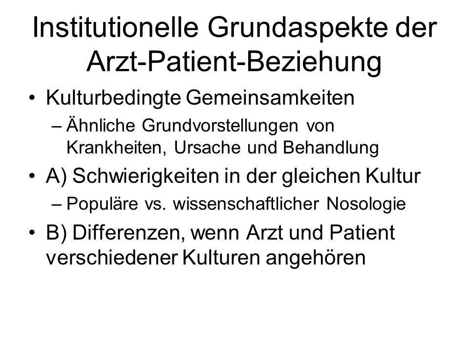 Institutionelle Grundaspekte der Arzt-Patient-Beziehung Kulturbedingte Gemeinsamkeiten –Ähnliche Grundvorstellungen von Krankheiten, Ursache und Behan