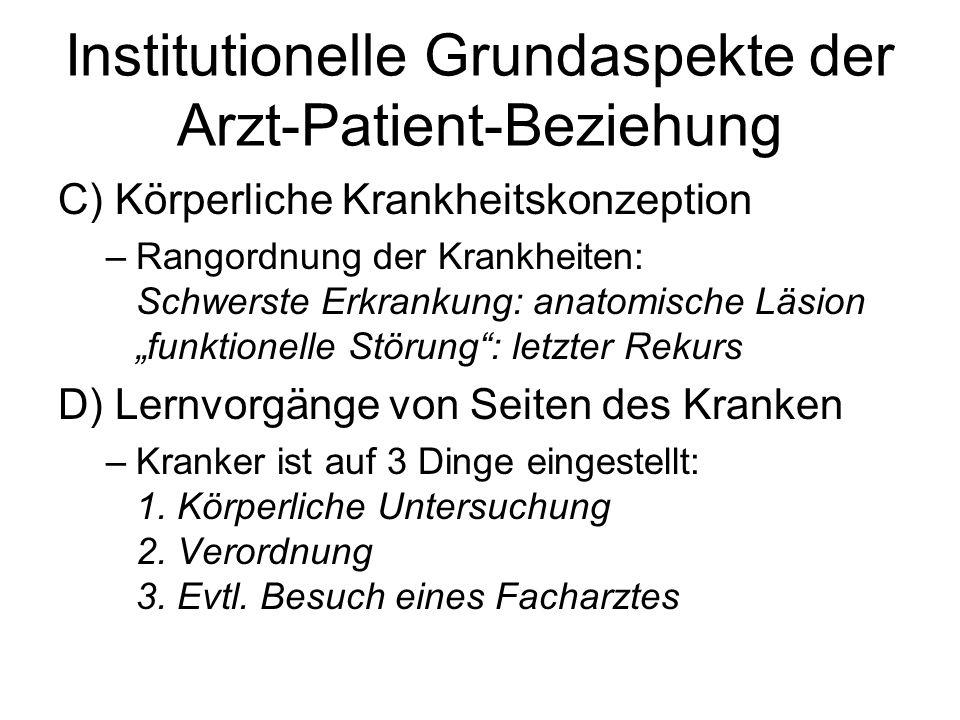 Institutionelle Grundaspekte der Arzt-Patient-Beziehung C) Körperliche Krankheitskonzeption –Rangordnung der Krankheiten: Schwerste Erkrankung: anatom