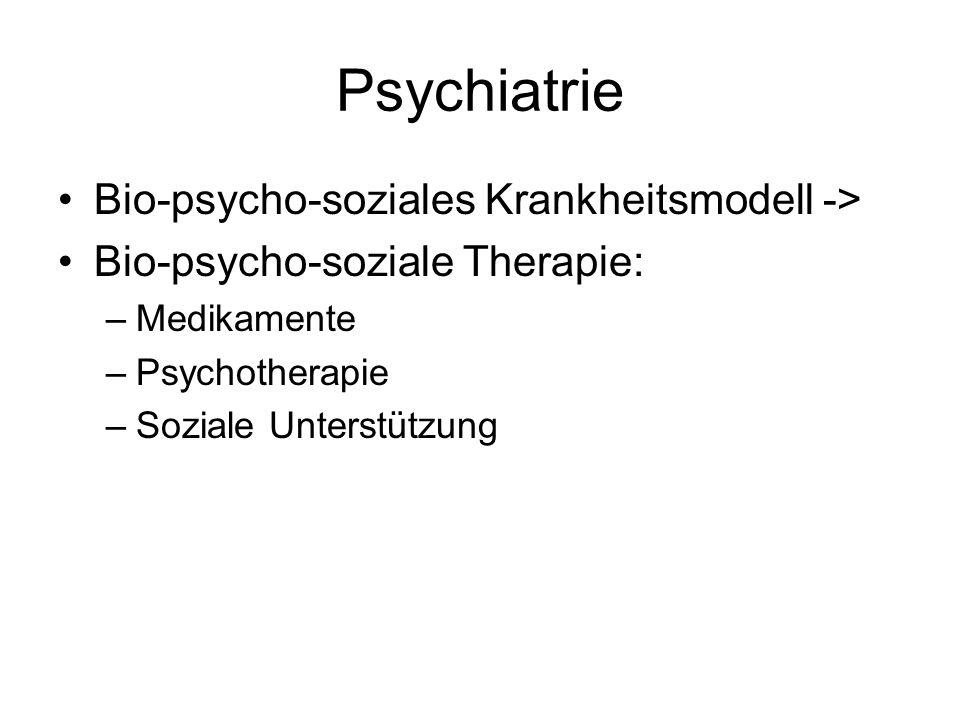 Psychiatrie Bio-psycho-soziales Krankheitsmodell -> Bio-psycho-soziale Therapie: –Medikamente –Psychotherapie –Soziale Unterstützung