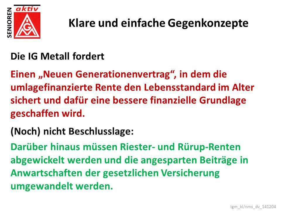 """Klare und einfache Gegenkonzepte Die IG Metall fordert Einen """"Neuen Generationenvertrag"""", in dem die umlagefinanzierte Rente den Lebensstandard im Alt"""
