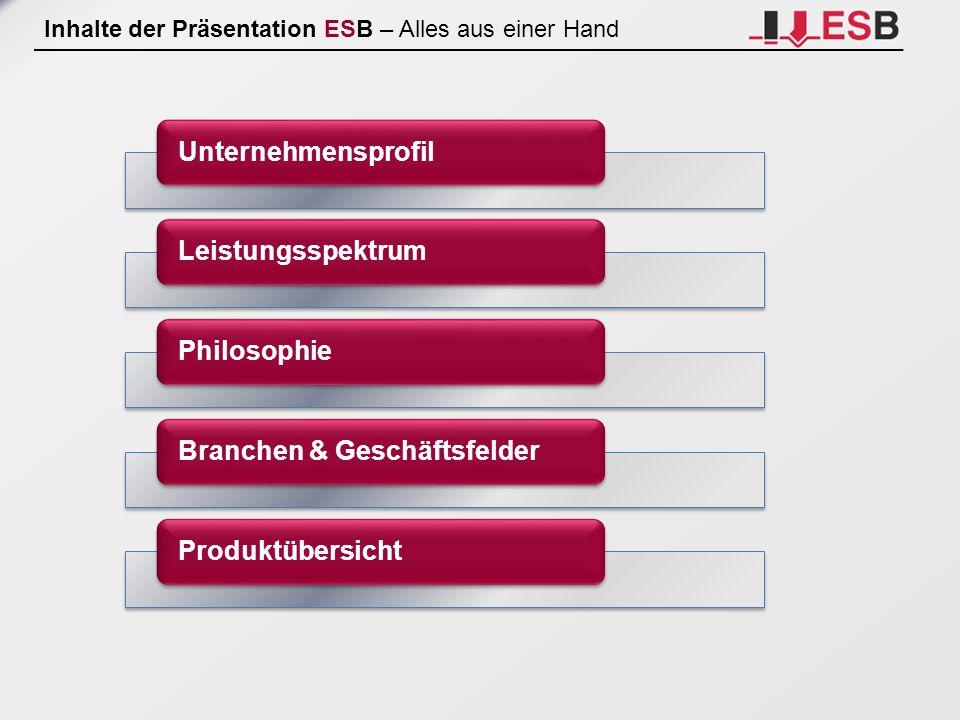 Inhalte der Präsentation ESB – Alles aus einer Hand Unternehmensprofil Leistungsspektrum Philosophie Branchen & Geschäftsfelder Produktübersicht