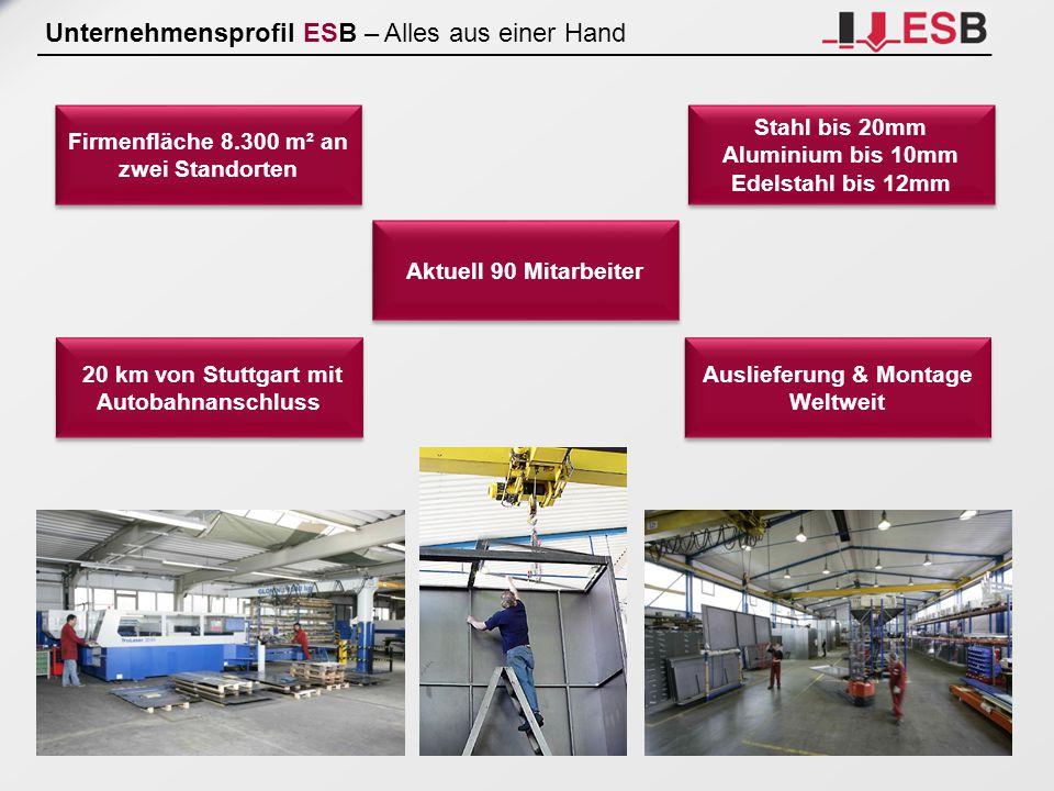 Unternehmensprofil ESB – Alles aus einer Hand Firmenfläche 8.300 m² an zwei Standorten 20 km von Stuttgart mit Autobahnanschluss Aktuell 90 Mitarbeite