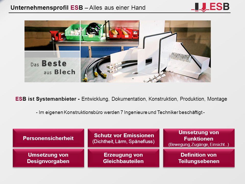 Leistungsspektrum ESB – Alles aus einer Hand Qualitätsmanangement ISO 9001:2008 Qualitätsmanangement ISO 9001:2008 Schweißen von Schienenfahrzeugen CL1 nach DIN EN 15085-2 Schweißen von Schienenfahrzeugen CL1 nach DIN EN 15085-2 Fachbetrieb nach WHG MaschineArtMateriallängeMaterialdickeLeistung TruMatic 7000 Großformat Laser-Stanz-Nibbel-Kombi3050 x 1550 mmbis max 8 mm3,2 KW TruLaser 3030 Großformat Laser-Flachbett3000 x 1500 mm bis 20 mm bis 12 mm V2A bis 10 mm Alu 3,2 KW TruBend 5170 2 Stück Biegepressemax 4000 mm bis 6 mm St.* bis 3 mm V2A 170 T TruBend 5085Biegepressemax 2500 mm bis 2,5 mm St.* bis 1,5 mm V2A 85 T Maschinen für ausgewählte Schweißverfahren (WIG/MIG/MAG), Punktschweißen.