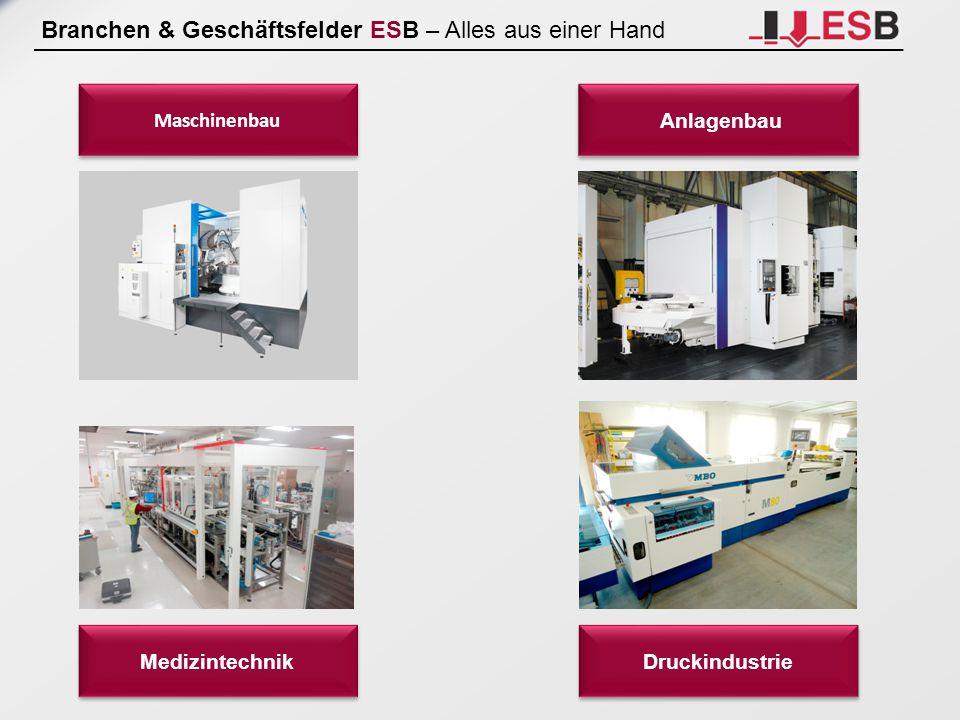 Branchen & Geschäftsfelder ESB – Alles aus einer Hand Maschinenbau Anlagenbau Medizintechnik Druckindustrie