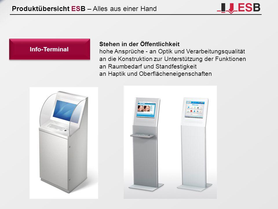 Produktübersicht ESB – Alles aus einer Hand Info-Terminal Stehen in der Öffentlichkeit hohe Ansprüche - an Optik und Verarbeitungsqualität an die Kons
