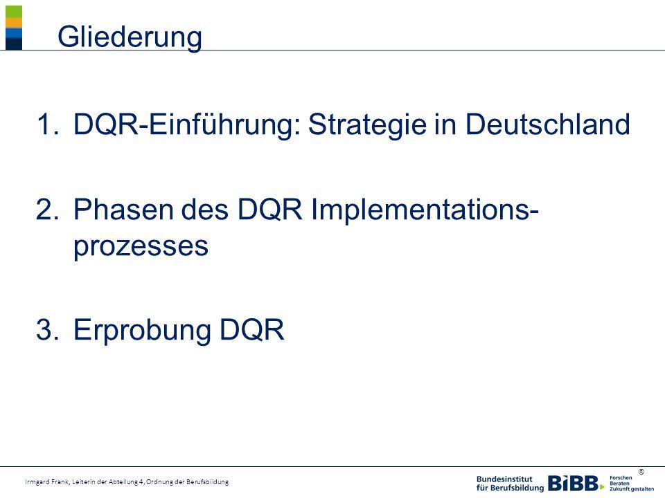 ® 1.DQR-Einführung: Strategie in Deutschland 2.Phasen des DQR Implementations- prozesses 3.Erprobung DQR Gliederung Irmgard Frank, Leiterin der Abteil