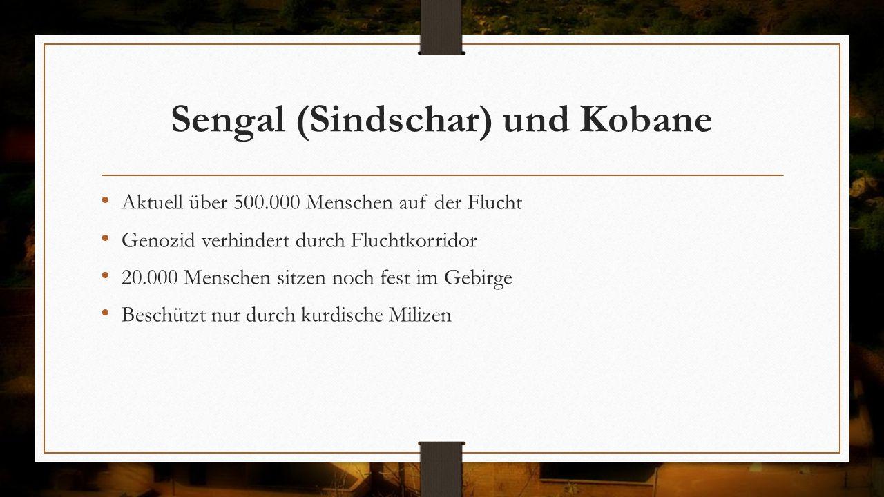 Sengal (Sindschar) und Kobane Aktuell über 500.000 Menschen auf der Flucht Genozid verhindert durch Fluchtkorridor 20.000 Menschen sitzen noch fest im