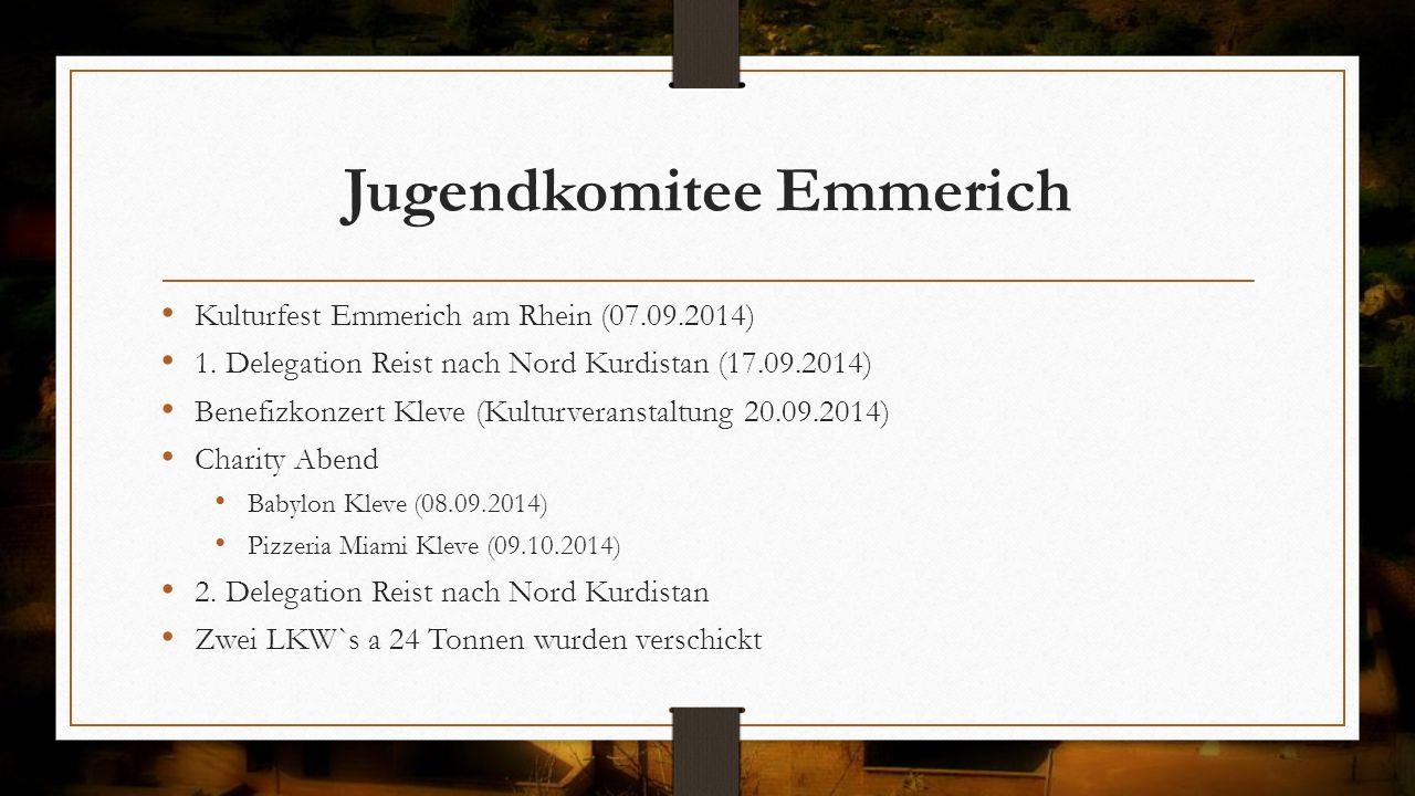 Jugendkomitee Emmerich Kulturfest Emmerich am Rhein (07.09.2014) 1. Delegation Reist nach Nord Kurdistan (17.09.2014) Benefizkonzert Kleve (Kulturvera