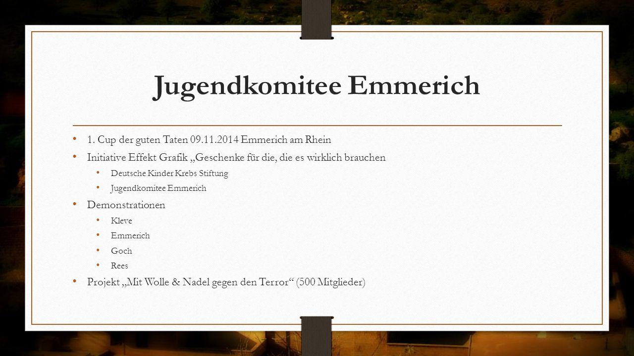 """Jugendkomitee Emmerich 1. Cup der guten Taten 09.11.2014 Emmerich am Rhein Initiative Effekt Grafik """"Geschenke für die, die es wirklich brauchen Deuts"""