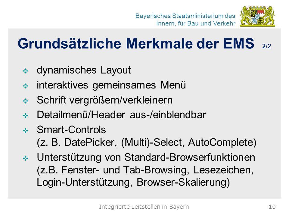 Bayerisches Staatsministerium des Innern, für Bau und Verkehr Grundsätzliche Merkmale der EMS 2/2  dynamisches Layout  interaktives gemeinsames Menü  Schrift vergrößern/verkleinern  Detailmenü/Header aus-/einblendbar  Smart-Controls (z.