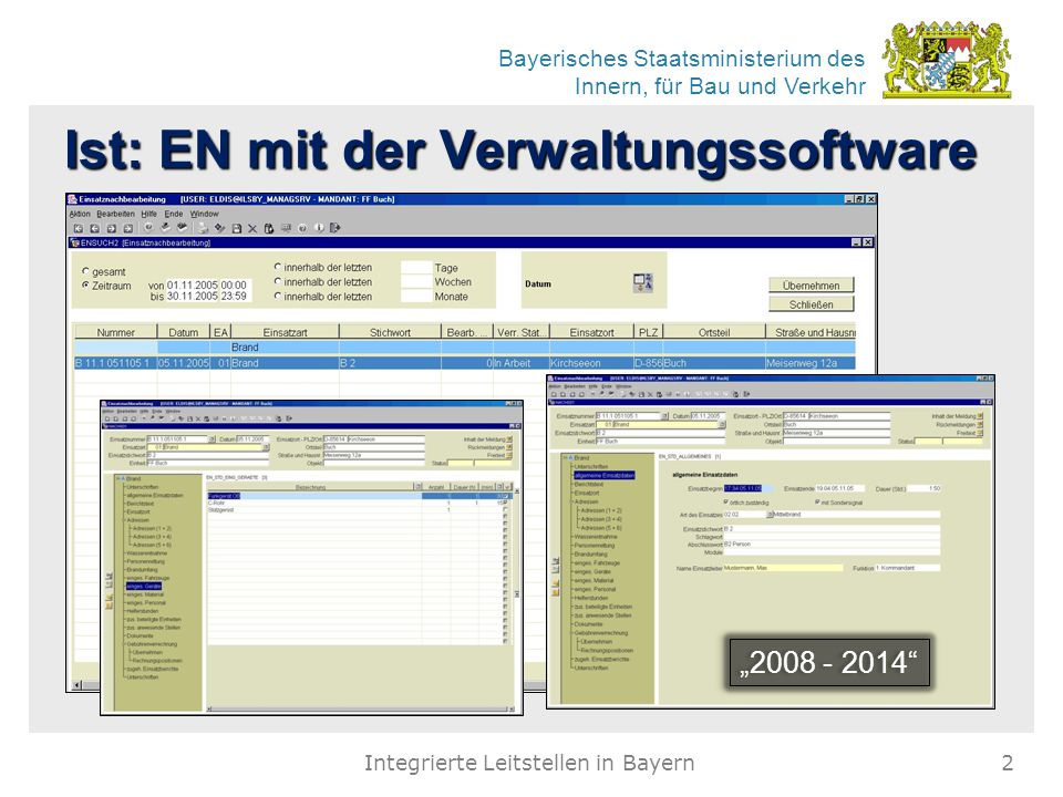 """Bayerisches Staatsministerium des Innern, für Bau und Verkehr Ist: EN mit der Verwaltungssoftware """"2008 - 2014"""" Integrierte Leitstellen in Bayern2"""