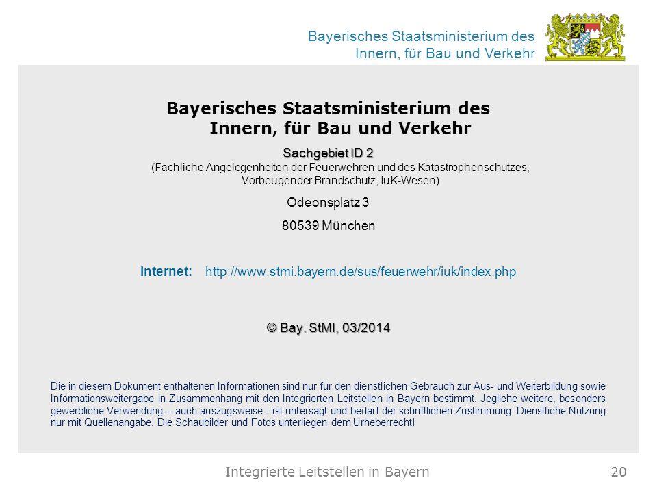 Bayerisches Staatsministerium des Innern, für Bau und Verkehr Sachgebiet ID 2 Sachgebiet ID 2 (Fachliche Angelegenheiten der Feuerwehren und des Katas
