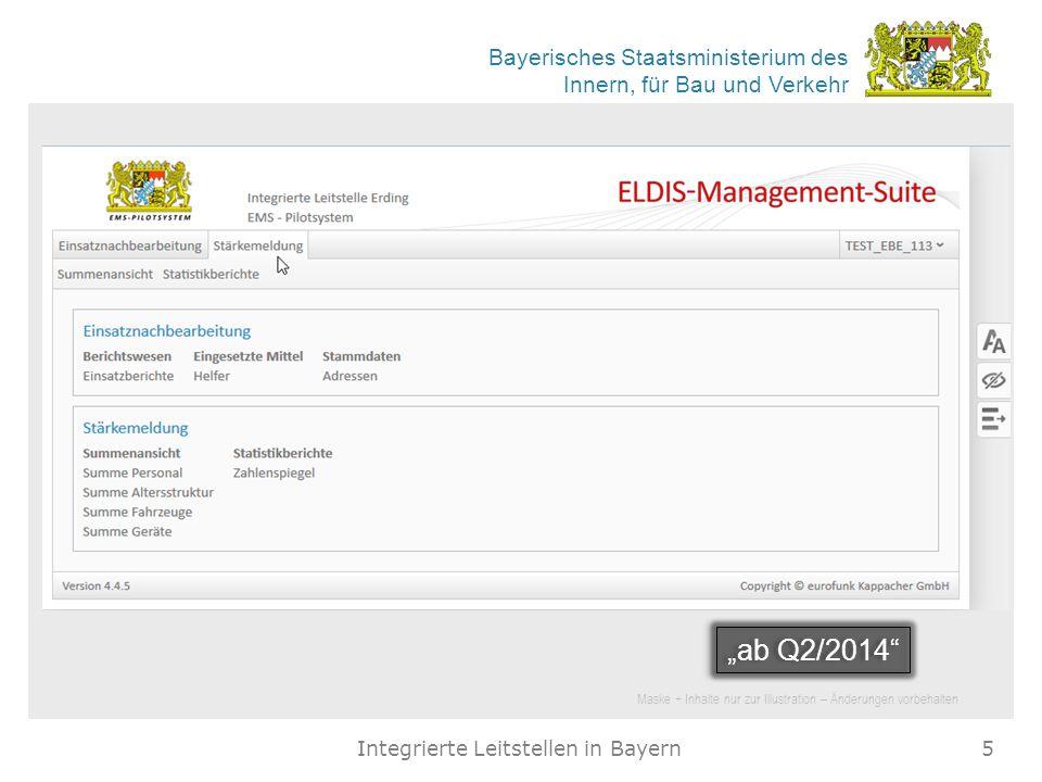 Bayerisches Staatsministerium des Innern, für Bau und Verkehr Integrierte Leitstellen in Bayern5 Maske + Inhalte nur zur Illustration – Änderungen vor