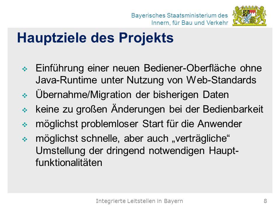 Bayerisches Staatsministerium des Innern, für Bau und Verkehr Hauptziele des Projekts  Einführung einer neuen Bediener-Oberfläche ohne Java-Runtime u