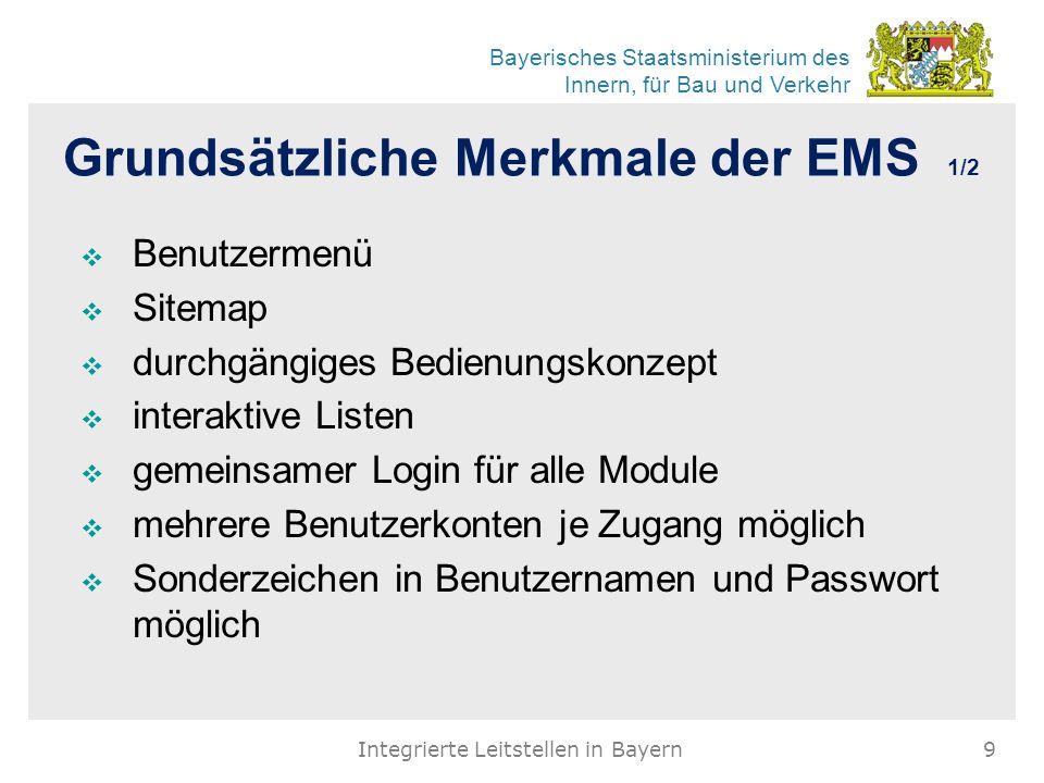 Bayerisches Staatsministerium des Innern, für Bau und Verkehr Grundsätzliche Merkmale der EMS 1/2  Benutzermenü  Sitemap  durchgängiges Bedienungsk