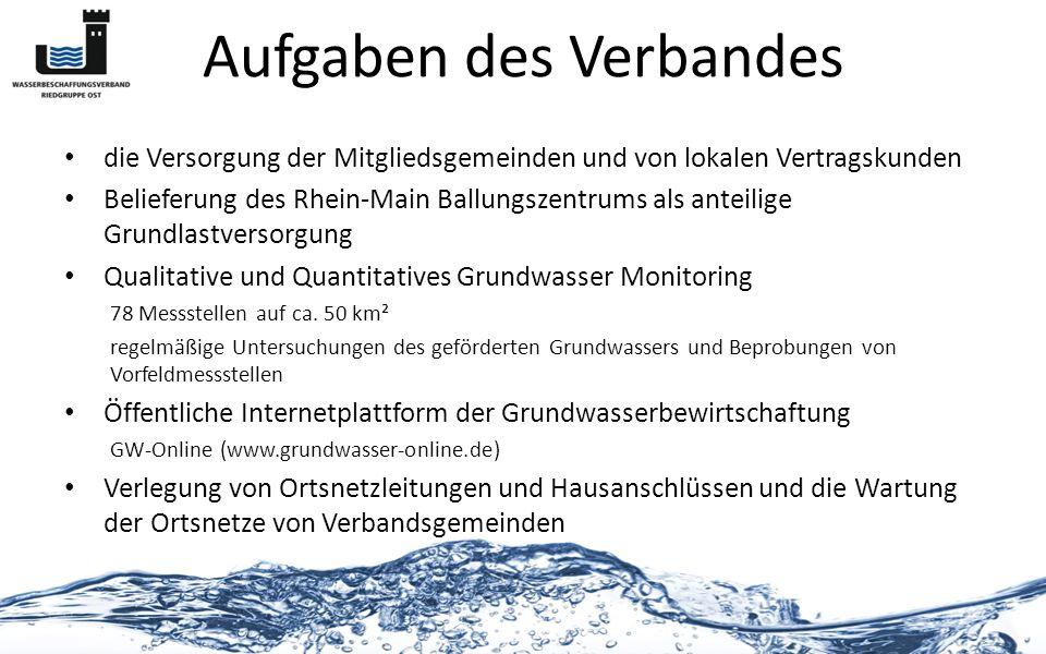 Aufgaben des Verbandes die Versorgung der Mitgliedsgemeinden und von lokalen Vertragskunden Belieferung des Rhein-Main Ballungszentrums als anteilige