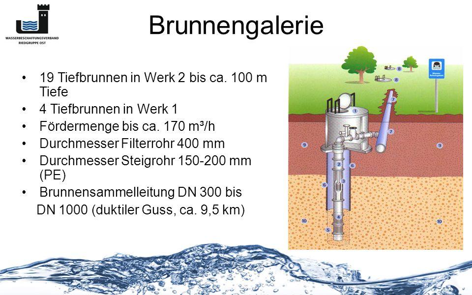 Brunnengalerie 19 Tiefbrunnen in Werk 2 bis ca. 100 m Tiefe 4 Tiefbrunnen in Werk 1 Fördermenge bis ca. 170 m³/h Durchmesser Filterrohr 400 mm Durchme