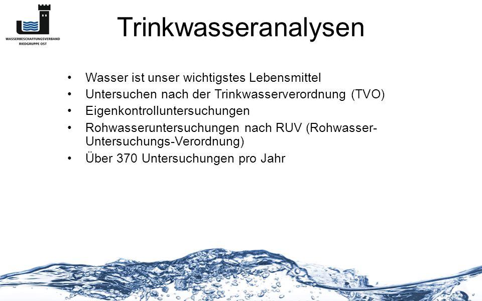 Trinkwasseranalysen Wasser ist unser wichtigstes Lebensmittel Untersuchen nach der Trinkwasserverordnung (TVO) Eigenkontrolluntersuchungen Rohwasserun