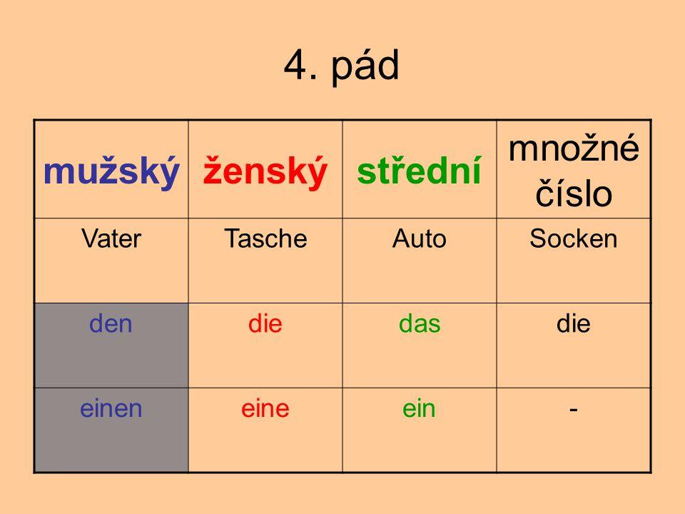 4. pád mužskýženskýstřední množné číslo VaterTascheAutoSocken dendiedasdie eineneineein-