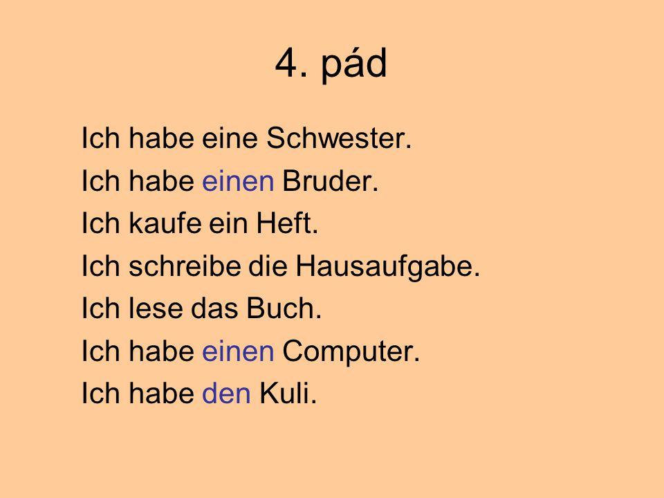 Doplň člen neurčitý 1.Hast du………….Bruder. 2.Das ist ……… Tasche.