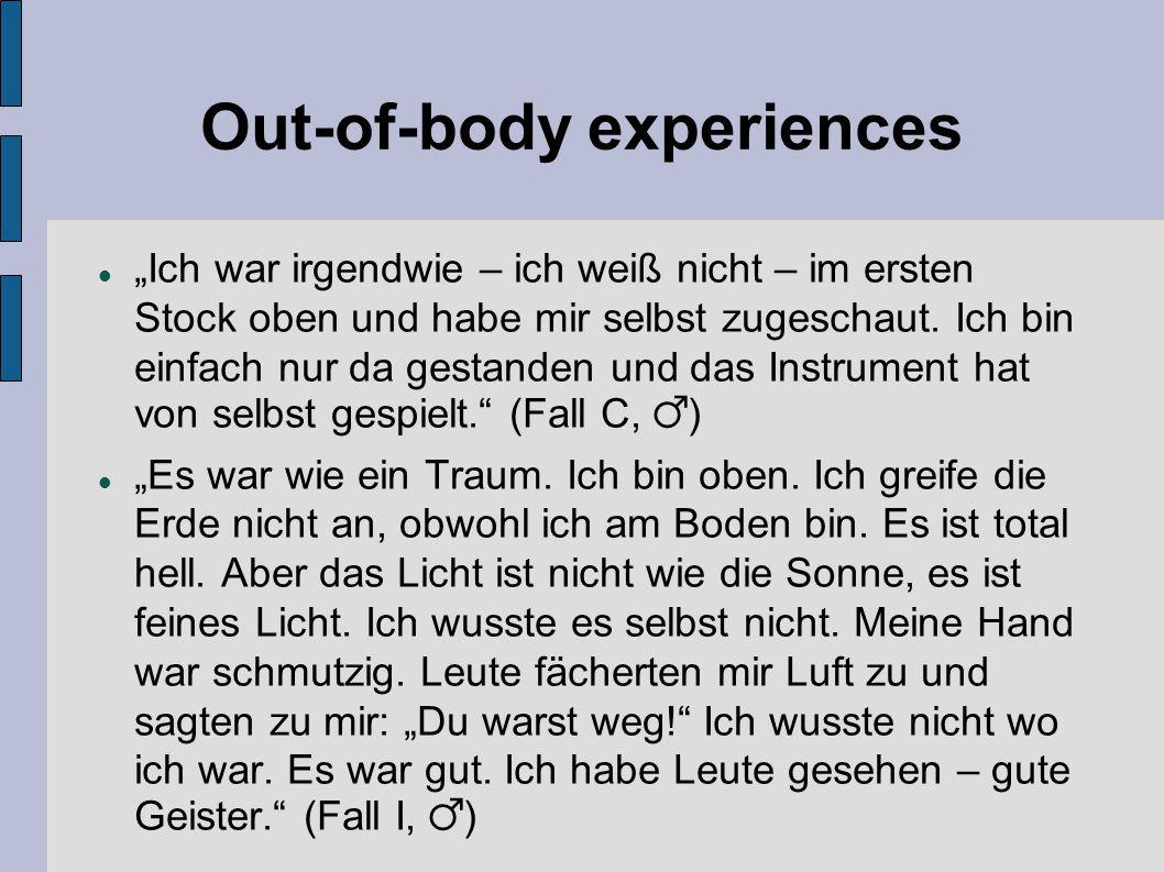 """Out-of-body experiences """"Ich war irgendwie – ich weiß nicht – im ersten Stock oben und habe mir selbst zugeschaut. Ich bin einfach nur da gestanden un"""