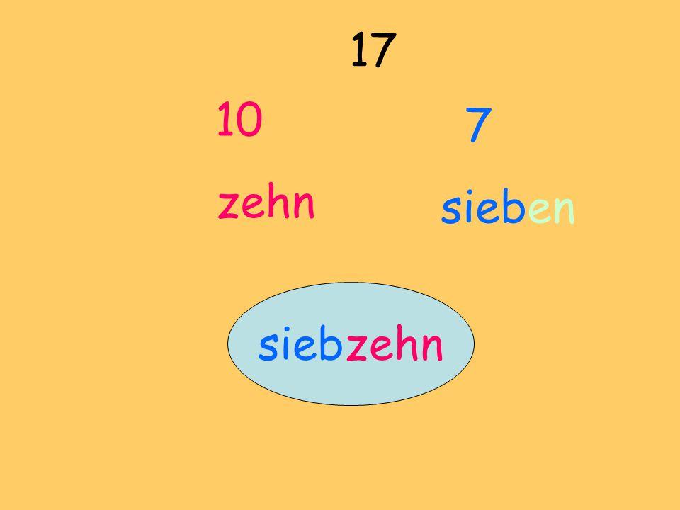 10 zehn 17 7 sieben siebzehn