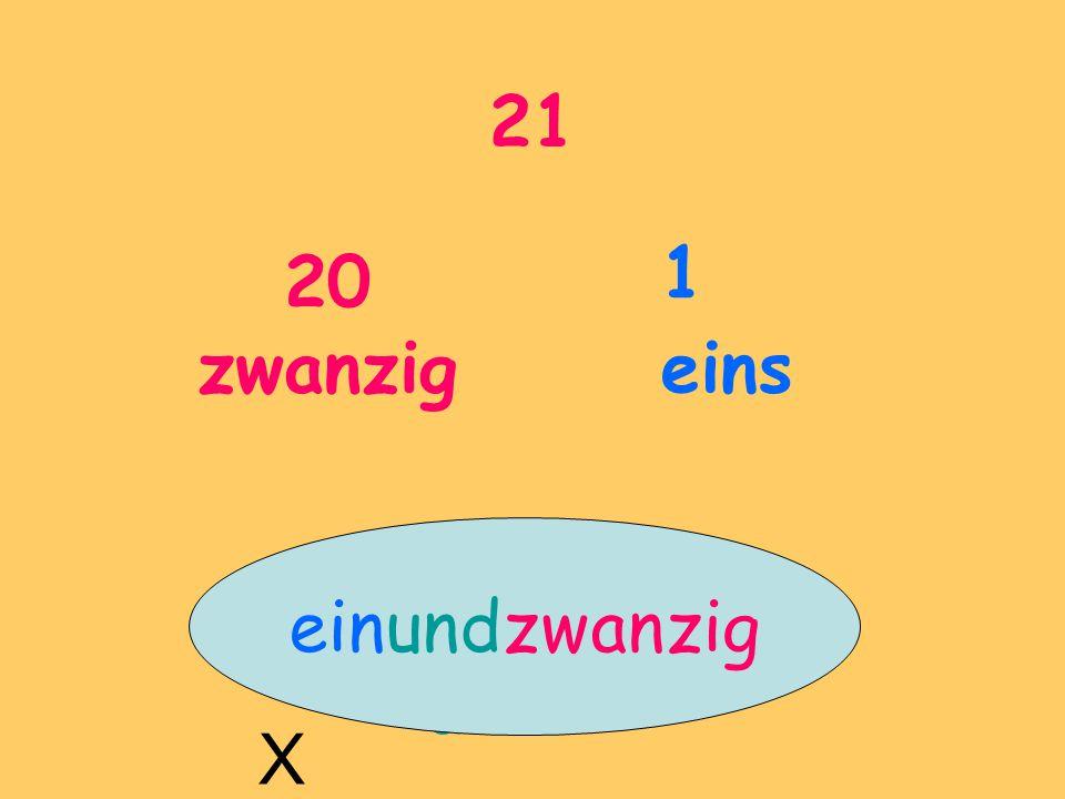 21 20 zwanzig 1 eins und X einundzwanzig