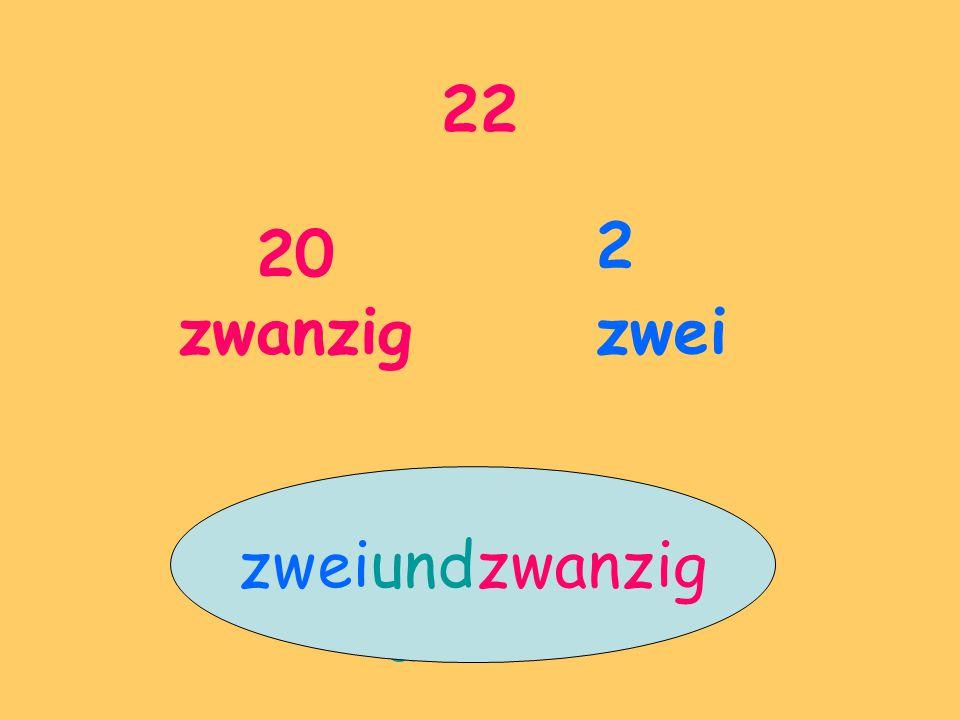 22 20 zwanzig 2 zwei und zweiundzwanzig