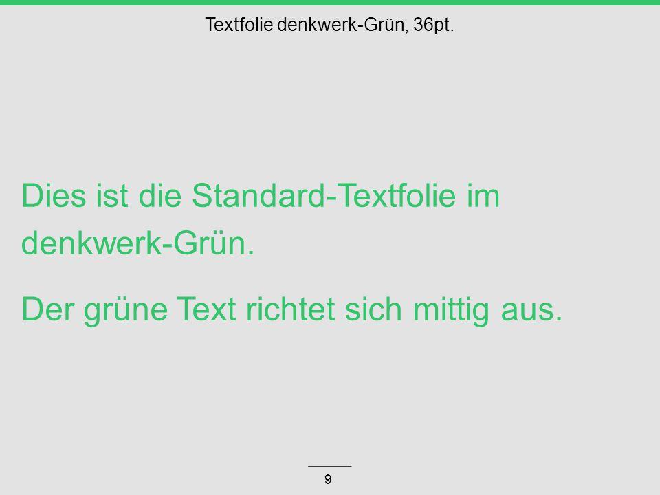 Dies ist die Standard-Textfolie im denkwerk-Grün.Der grüne Text richtet sich mittig aus.