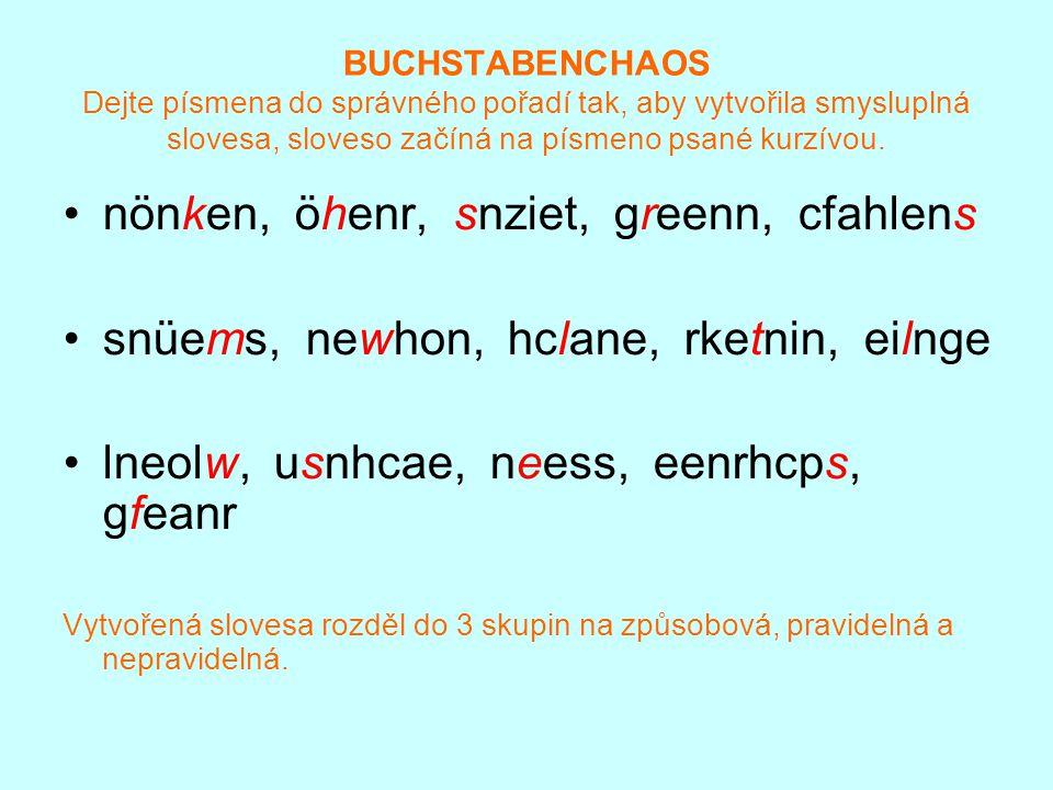 BUCHSTABENCHAOS Die Lösung können, hören, sitzen, regnen, schlafen müssen, wohnen, lachen, trinken, liegen wollen, schauen, essen, sprechen, fragen Slovesa způsobová: können, müssen, wollen Slovesa pravidelná: hören, regnen, wohnen, lachen, schauen, fragen Slovesa nepravidelná: sitzen, schlafen,trinken, liegen, essen, sprechen
