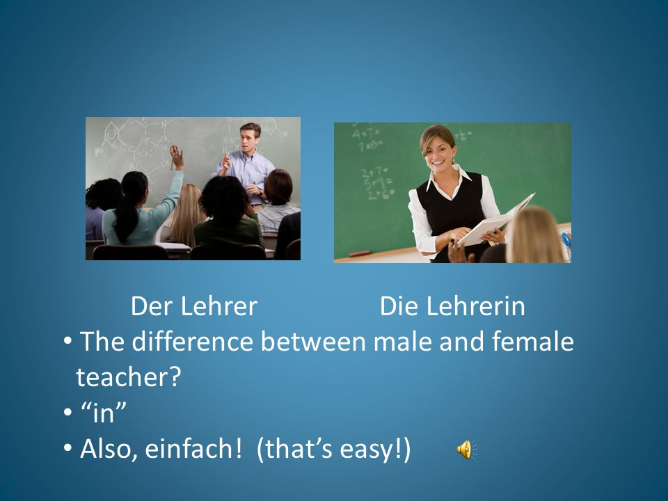 Der Lehrer Die Lehrerin The difference between male and female teacher.