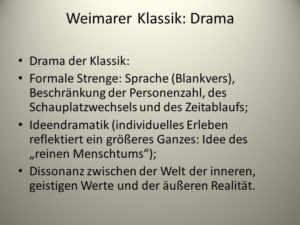 Weimarer Klassik: Drama Drama der Klassik: Formale Strenge: Sprache (Blankvers), Beschränkung der Personenzahl, des Schauplatzwechsels und des Zeitabl