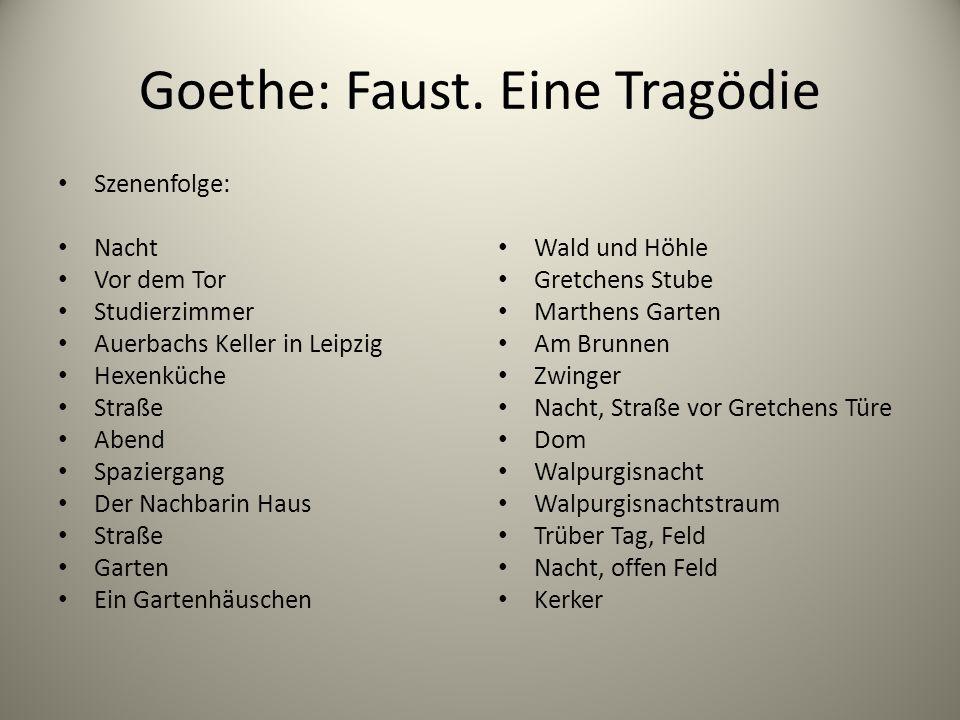 Goethe: Faust. Eine Tragödie Szenenfolge: Nacht Vor dem Tor Studierzimmer Auerbachs Keller in Leipzig Hexenküche Straße Abend Spaziergang Der Nachbari