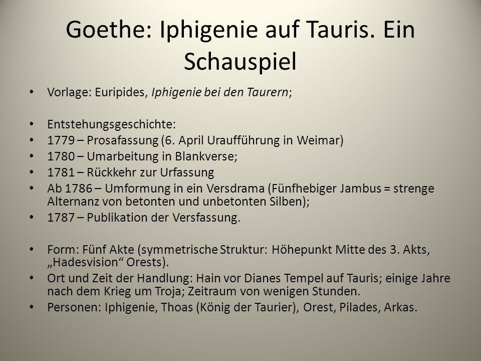 Goethe: Iphigenie auf Tauris. Ein Schauspiel Vorlage: Euripides, Iphigenie bei den Taurern; Entstehungsgeschichte: 1779 – Prosafassung (6. April Urauf
