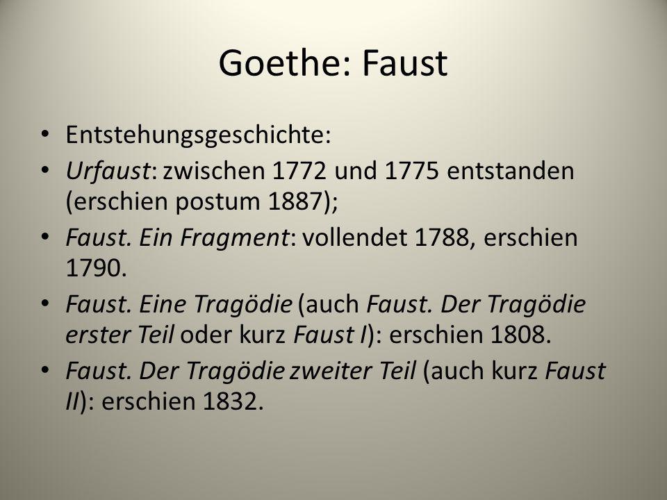 Goethe: Faust Entstehungsgeschichte: Urfaust: zwischen 1772 und 1775 entstanden (erschien postum 1887); Faust. Ein Fragment: vollendet 1788, erschien
