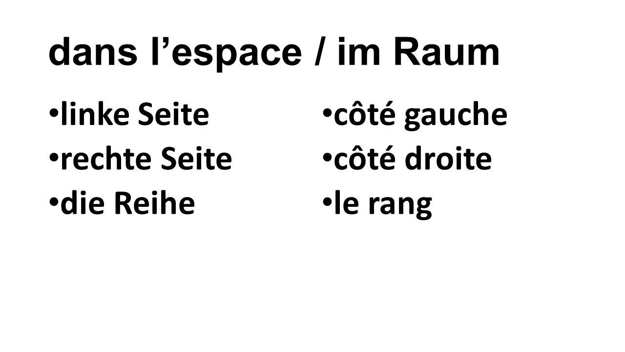 dans l'espace / im Raum linke Seite rechte Seite die Reihe côté gauche côté droite le rang