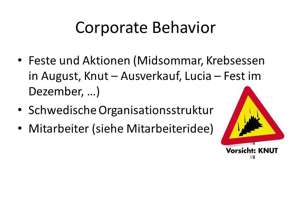 Corporate Behavior Feste und Aktionen (Midsommar, Krebsessen in August, Knut – Ausverkauf, Lucia – Fest im Dezember, …) Schwedische Organisationsstruk