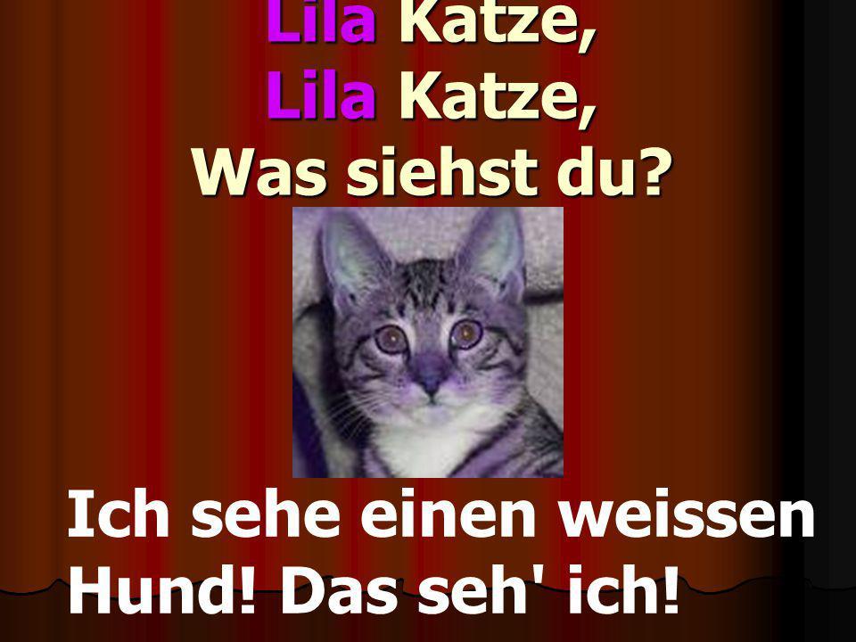 Lila Katze, Lila Katze, Was siehst du? Ich sehe einen weissen Hund! Das seh' ich!