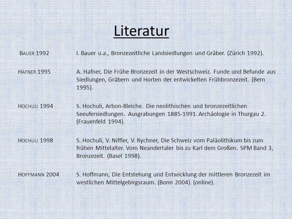 Literatur B AUER 1992I. Bauer u.a., Bronzezeitliche Landsiedlungen und Gräber. (Zürich 1992). H AFNER 1995A. Hafner, Die Frühe Bronzezeit in der Wests